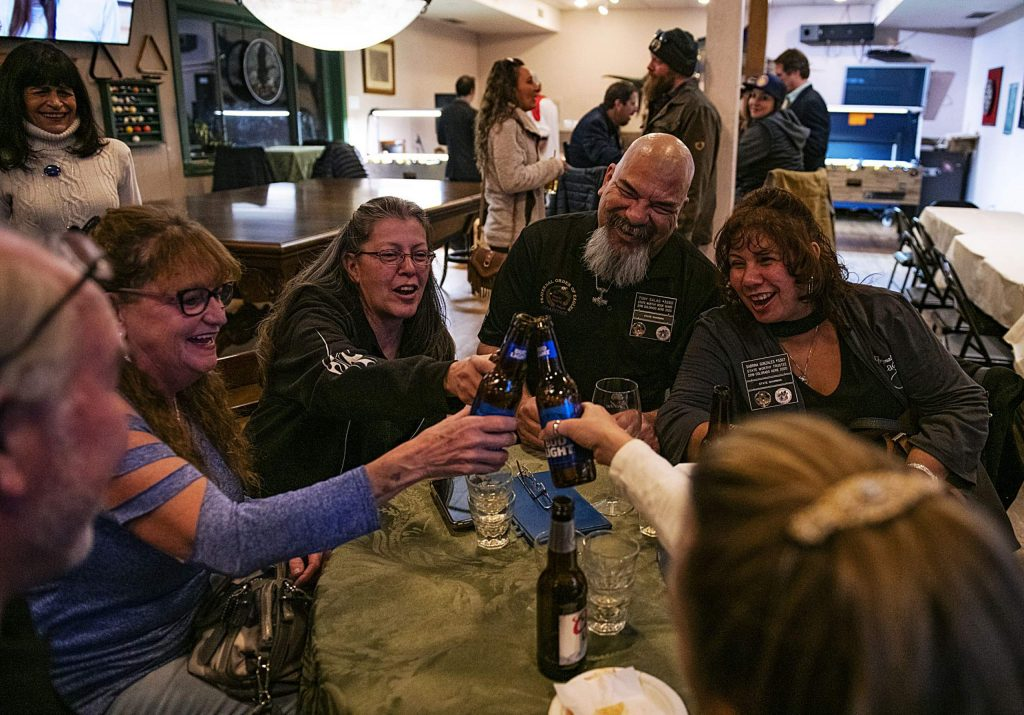 The Colorado Eagles State Worthy Board toasts before an initiation of new members at the Eagles Club 184 in Aspen on Saturday, November 9, 2019. (Kelsey Brunner/The Aspen Times)