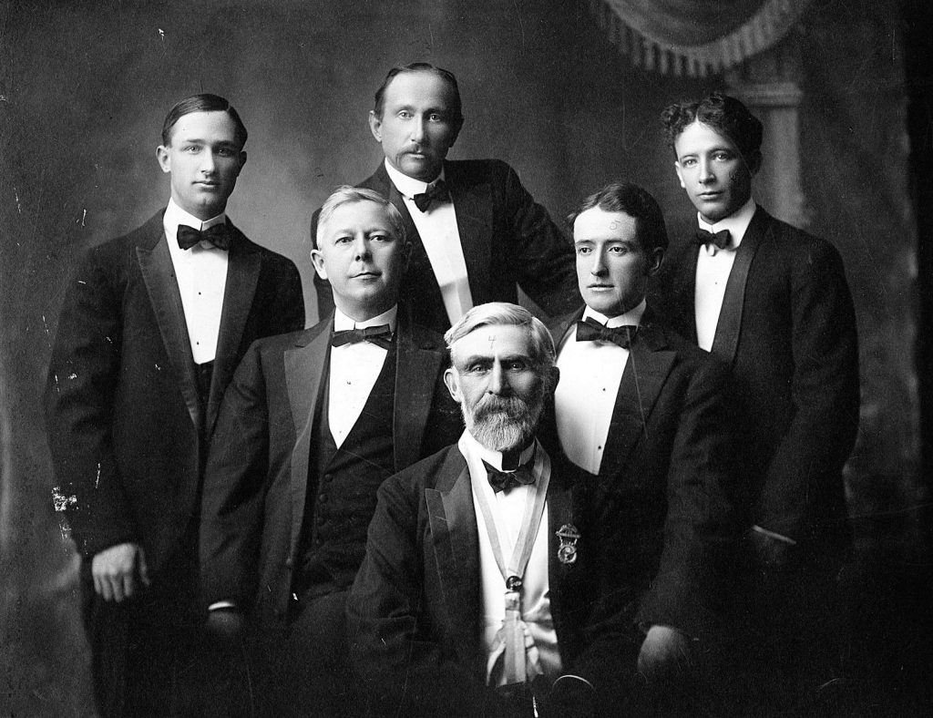 Aspen Elks Club members including Charles Wagner, Charles Dailey, Tom Flynn, Judge Thomas Rucker and the others undientified in the early 1900s.