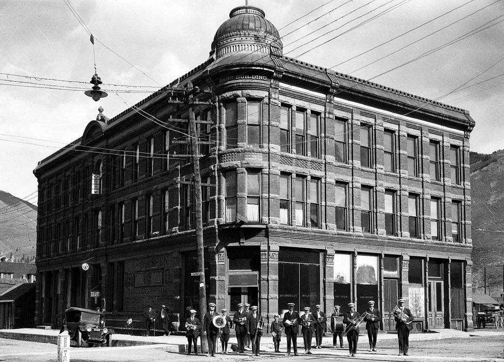 The Elks Band photographed in front of the Elks Building in Aspen, circa 1925.