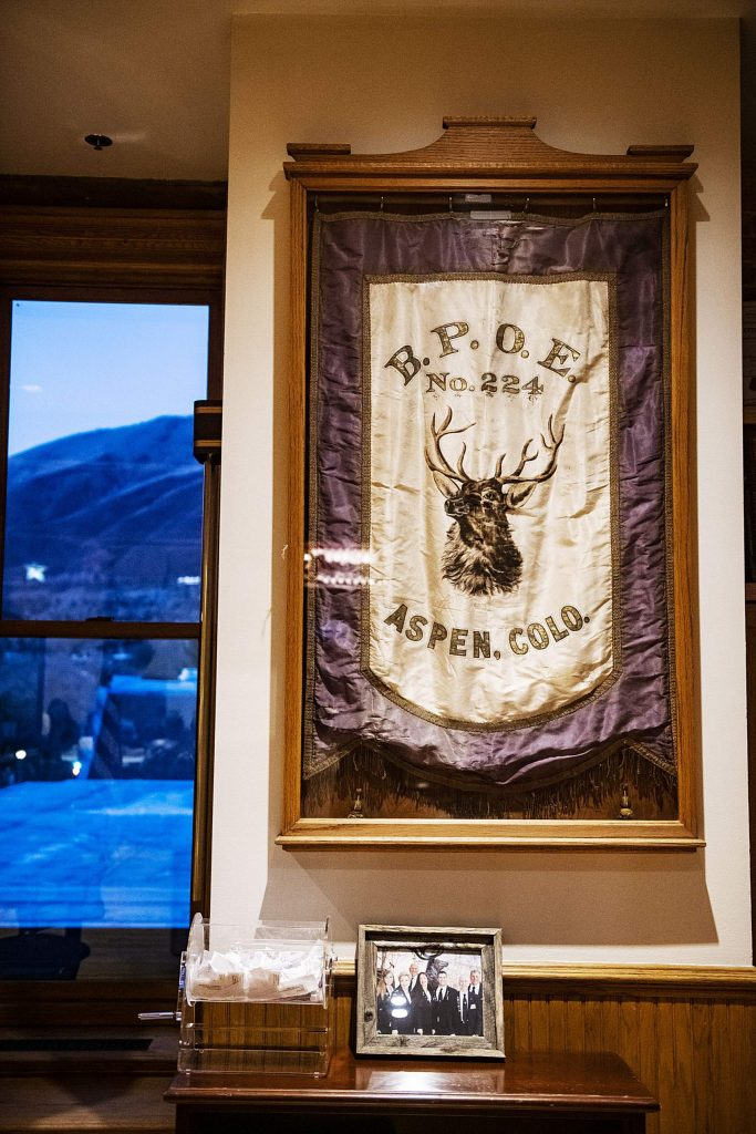 A flag hangs in the Aspen Elks Lodge on Thursday, November 7, 2019. (Kelsey Brunner/The Aspen Times)