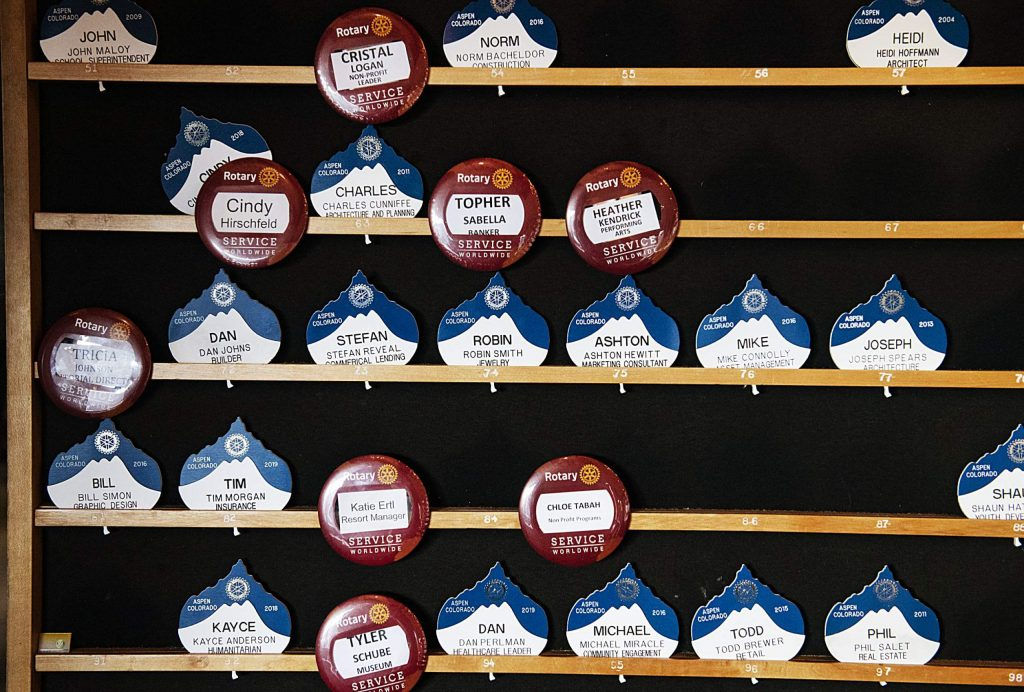 Name tags of rotarians hang on a board in their given spaces in the Mountain Chalet on Thursday, November 7, 2019. The Aspen Rotary Club has over 100 members to date. (Kelsey Brunner/The Aspen Times)