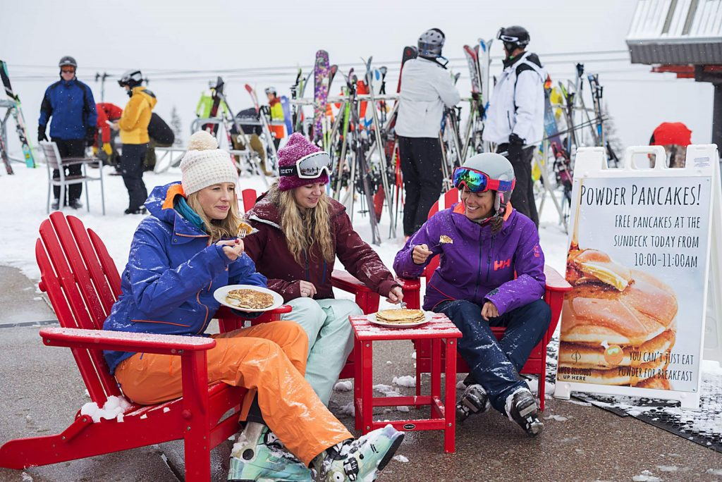 Locals dig into Powder Pancakes, offered complimentary on all four Aspen-Snowmass mountains when the morning report tallies at least 8 inches of snowfall.
