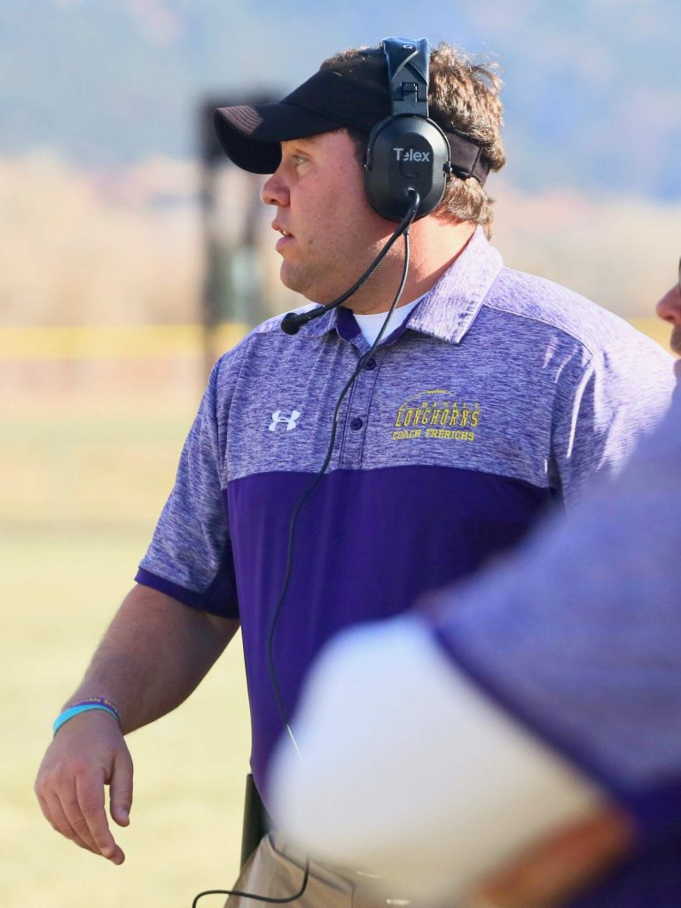 Basalt High School football coach Carl Frerichs watches from the sideline against Rifle on Saturday, Nov. 16, 2019, on the BHS field. The Longhorns won the Class 2A state quarterfinal game in double overtime, 21-14. (Photo by Austin Colbert/The Aspen Times)
