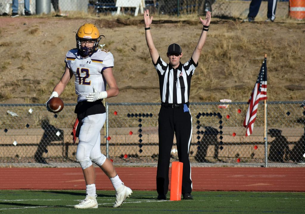 Jackson Rapaport looks back after pulling in a touchdown reception during a 2A playoff opener against TCA. The Longhorns defeated the Titans 13-7 on Saturday, Nov. 10, 2019 in Colorado Springs to advance to the second round of the playoffs. (Lindsey Smith, The Gazette)