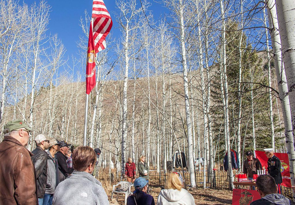 Over 40 people gathered around the flagpole in the Aspen Grove Cemetery on Sunday for the local Marine Corps birthday celebration. The annual birthday gathering has been held in the Aspen cemetery for over 14 years.