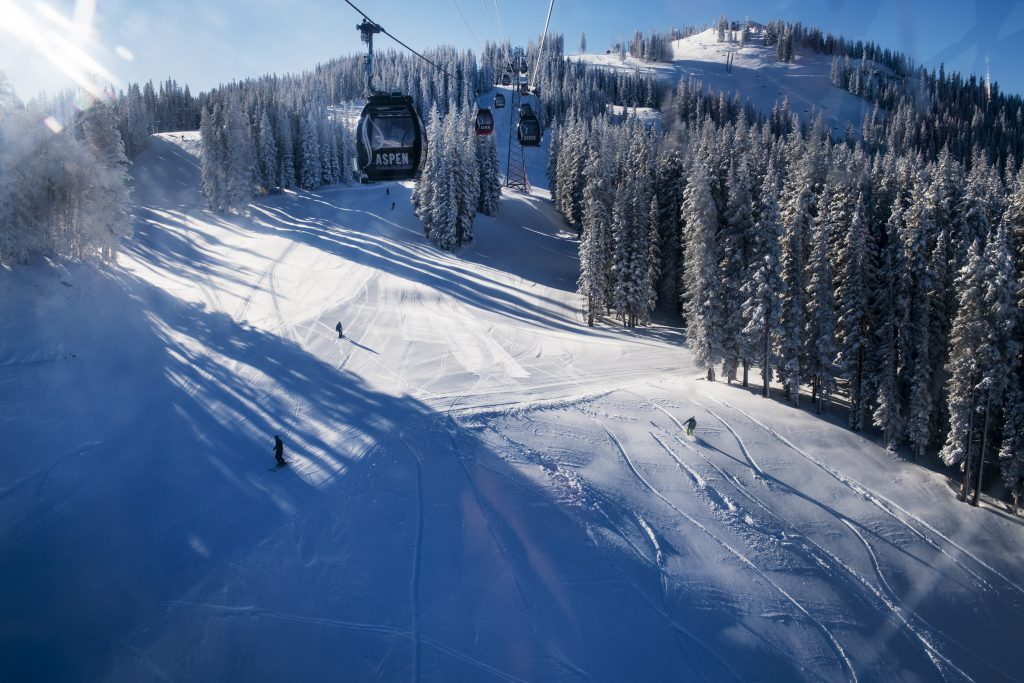 The first skiers of the day hit Aspen Mountain on Saturday, November 23, 2019. (Kelsey Brunner/The Aspen Times)