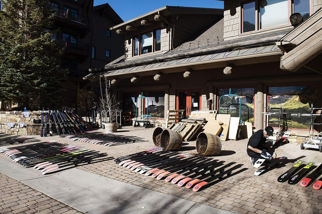 Skis treated with Phantom lay in the sun for 12-15 minutes as part of the process at Aspen Highlands on Wednesday.