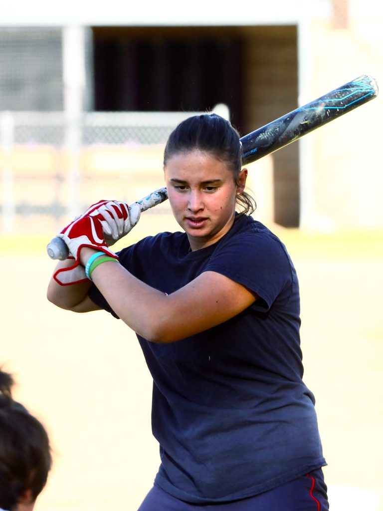 Basalt senior Zoe Vozick practices earlier this season with the BHS softball team. (Photo by Austin Colbert/The Aspen Times)