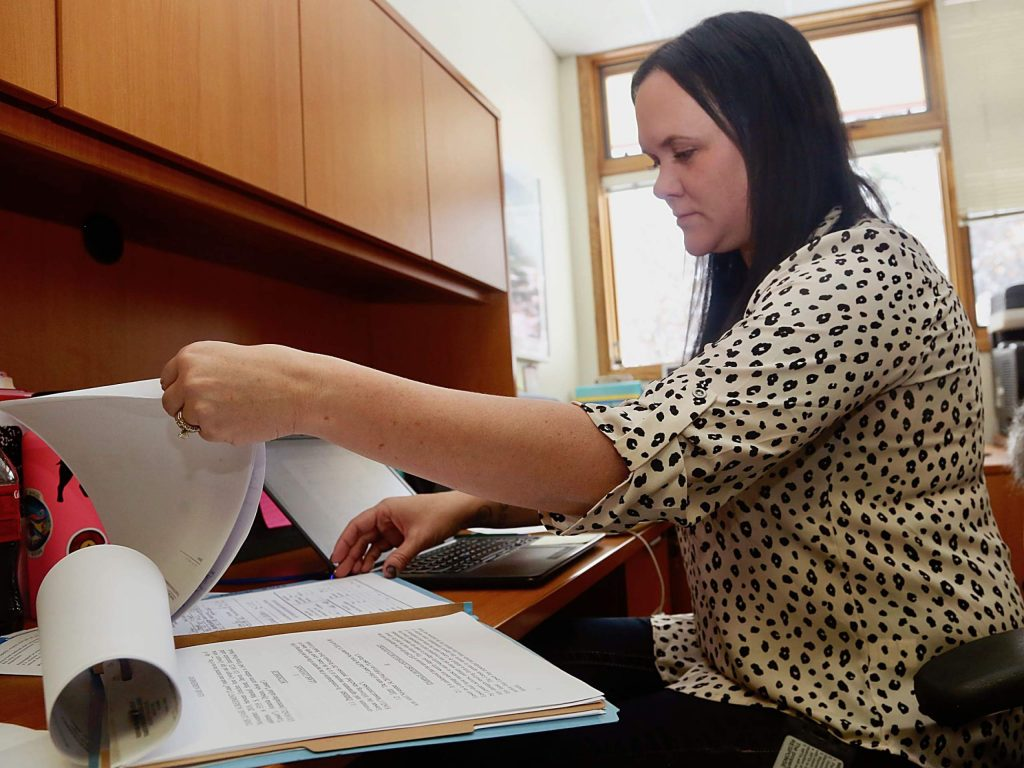 Tiffaney Bledsaw with Response on Tuesday, Nov. 26, 2019, at their Castle Creek Road office. (Photo by Austin Colbert/The Aspen Times)