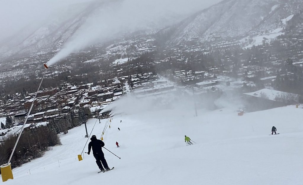 Tuesday was a powder day thanks Mother Nature, and the Little Nell run continued to get a boost from snowmaking.
