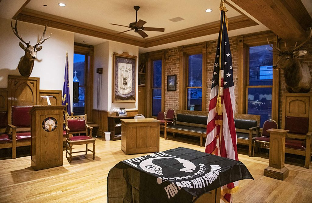 A POW MIA flag is draped over a pedestal waiting to be hung in the Aspen Elks Lodge on Thursday, November 7, 2019. (Kelsey Brunner/The Aspen Times)