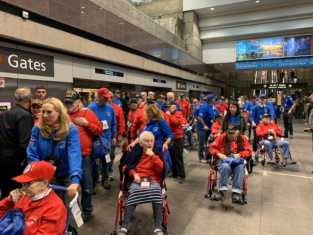 Dozens of Colorado veterans gather with their guardians in the Denver International Airport for a Rocky Mountain Honor Flight in late October. The honor flights bring veterans to visit national monuments and war memorials in Washington D.C. (Photo provided)