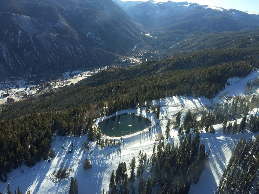This snowmaking pond on the east side of Aspen Mountain as seen from the air with EcoFlight on Oct. 26, 2019. Students from Carbondale-based Youth Water Leadership Program got a tour of water infrastructure in the Roaring Fork Valley.