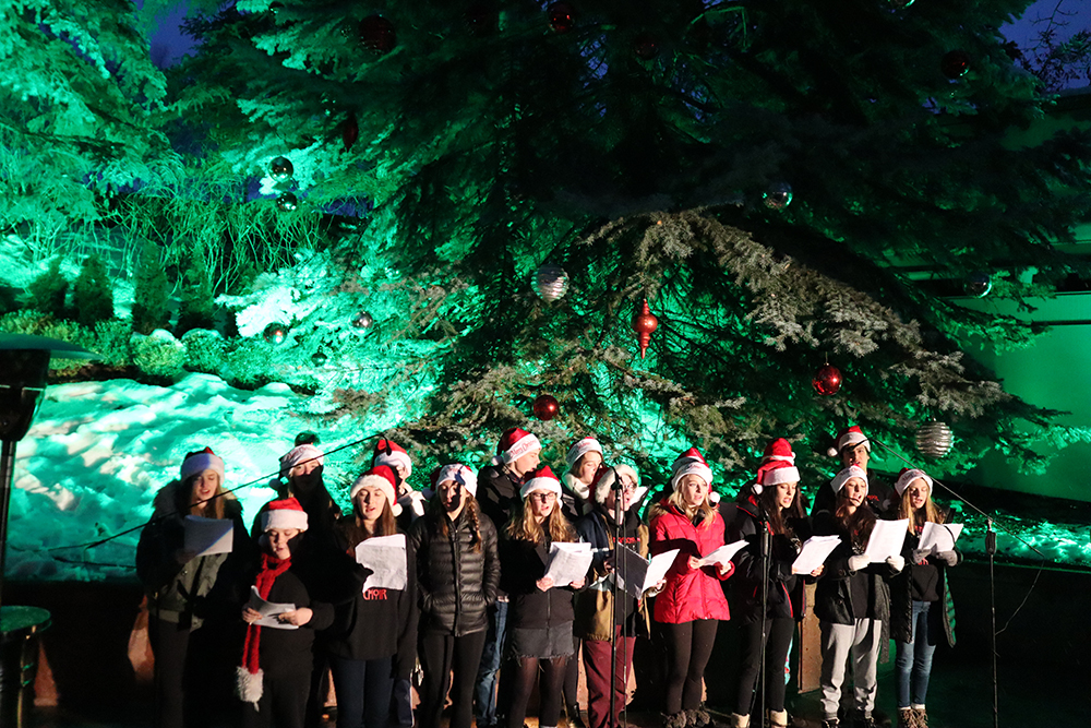 The Aspen High School Choir sings carols at The Little Nell's Tree Lighting.
