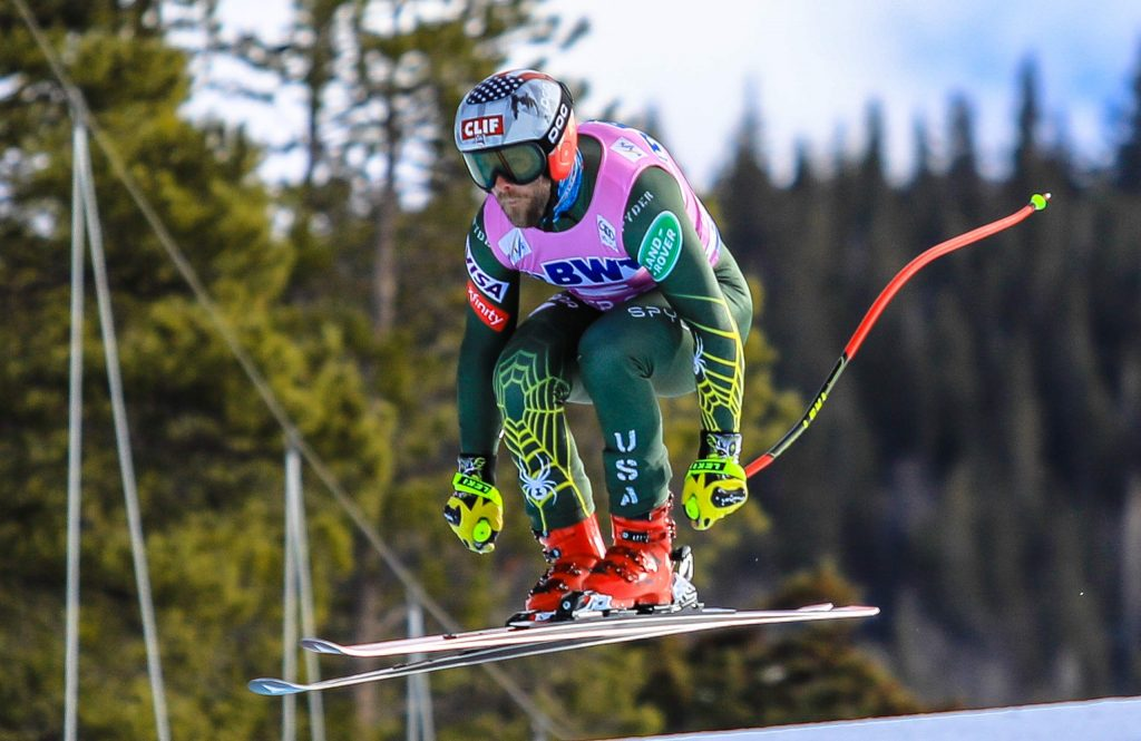 American Travis Ganong flies over Red Tail during the downhill training for the Xfinity Birds of Prey Audi FIS Ski World Cup on Wednesday in Beaver Creek. Ganong feels he's back to 100 percent after tearing his ACL in Bormio, Italy, in December 2017.