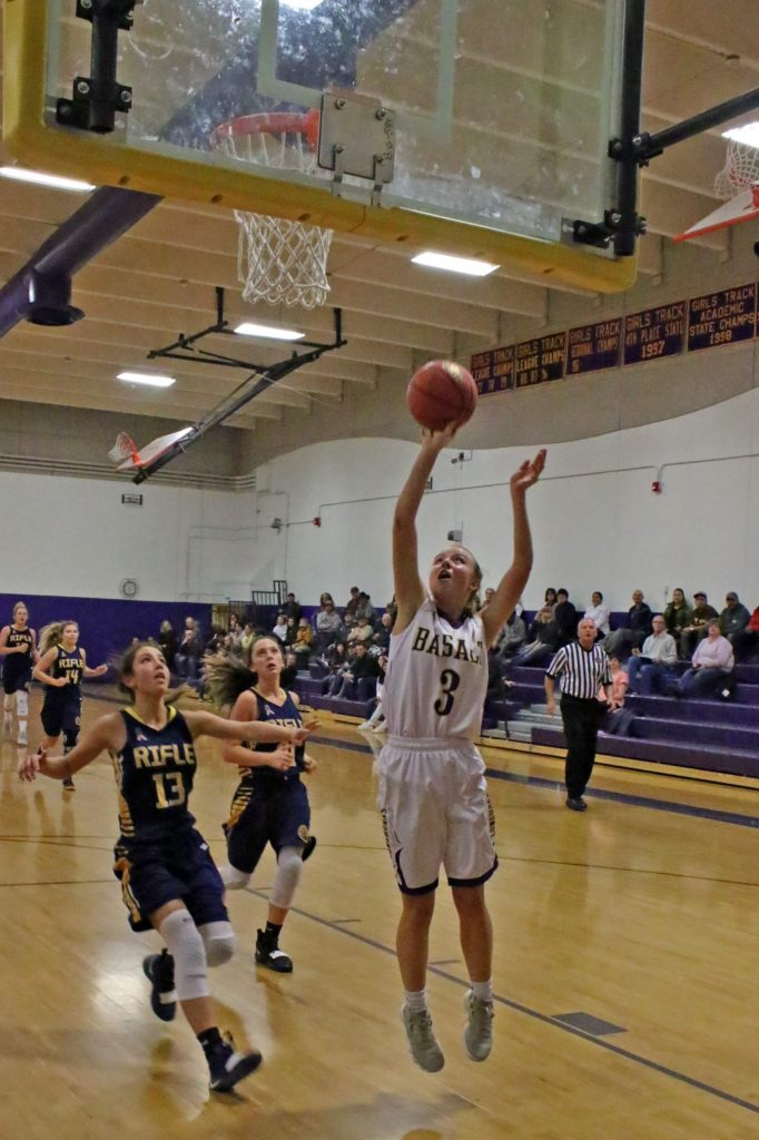 Basalt High School's Taylor Glen goes in for a layup against Rifle last season.