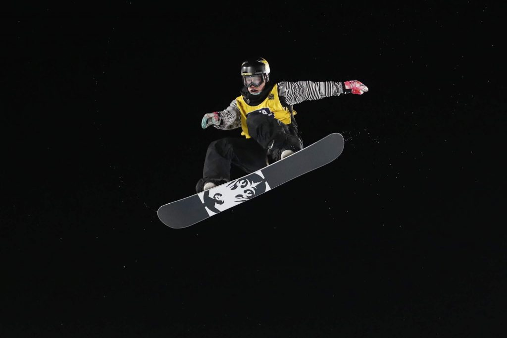 Chris Corning jumps during the finals of the Big Atlanta snowboard event Friday, Dec. 20, 2019, in Atlanta. Corning won the event. (AP Photo/John Bazemore)