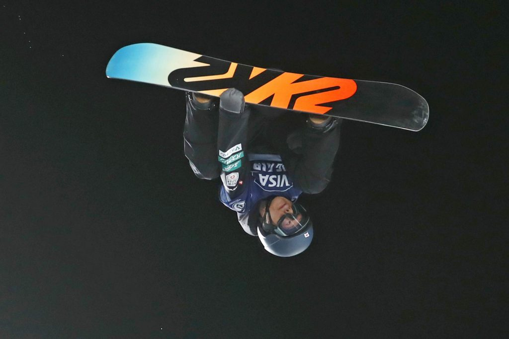 Ryoma Kimata, of Japan, competes in the finals of the Big Atlanta snowboard event Friday, Dec. 20, 2019, in Atlanta. (AP Photo/John Bazemore)