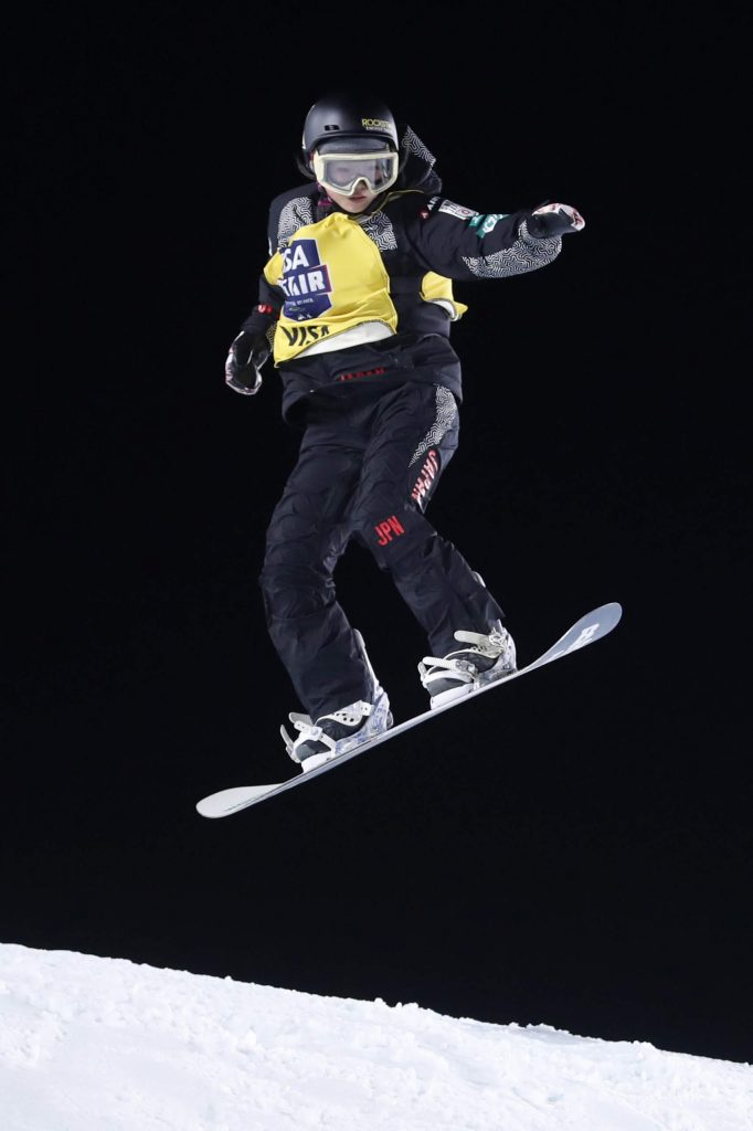 Reira Iwabuchi, of Japan, jumps during the finals of the Big Atlanta snowboard competition Friday, Dec. 20, 2019, in Atlanta. Iwabuchi won the event. (AP Photo/John Bazemore)