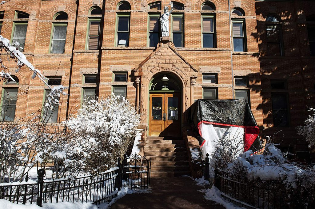 A tent covers the construction zone at the Pitkin County Courthouse on Tuesday, December 10, 2019.