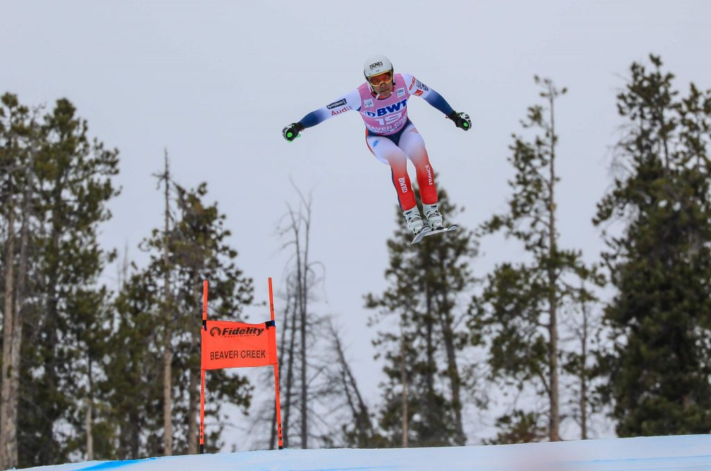 Frances's Johan Clarey gets big air on the Harrier Jump during the downhill of the Xfinity Birds of Prey Audi FIS World Cup on Saturday in Beaver Creek. After a dreadful super-G on Friday, Clarey tied for second on Saturday.