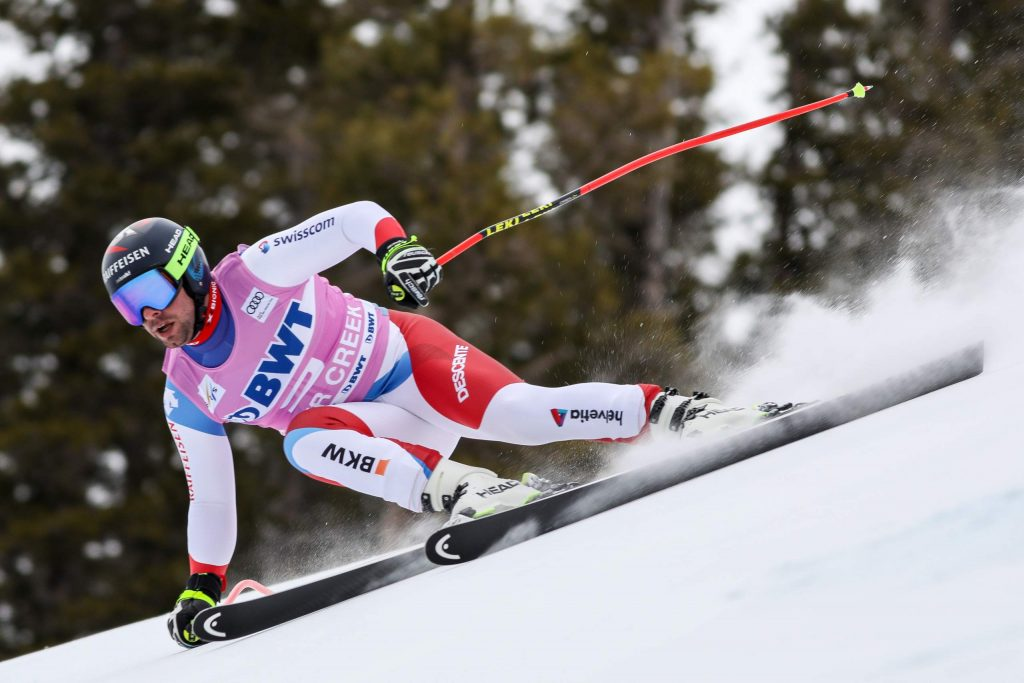Beat Feuz, of Switzerland, descends into The Brink section of the Xfinity Birds of Prey FIS World Cup downhill course on Saturday in Beaver Creek. Feuz won the race and the Swiss continued to gain on the Austrians.