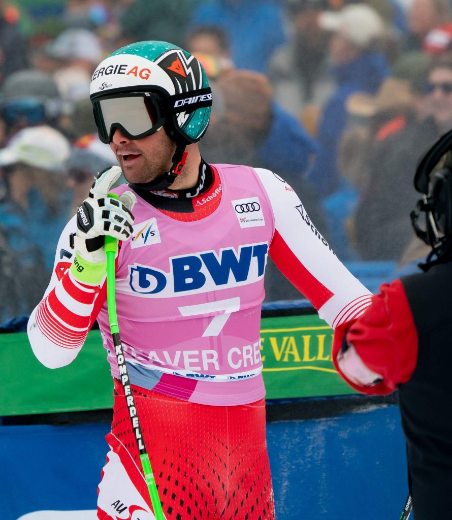 Austria's Vincent Kriechmayr reacts at the finish line to his Xfinity Birds of Prey FIS World Cup downhill race run on Saturday at Beaver Creek. Kriechmayr tied for second place with France's Johan Clarey.