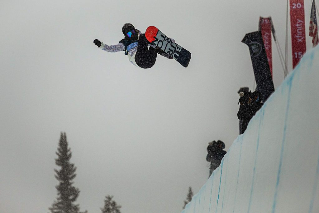 China's Jiayu Liu takes second place in the women's snowboarding halfpipe finals of the Land Rover U.S. Grand Prix at Copper Mountain, Colo. on Saturday, Dec. 14.