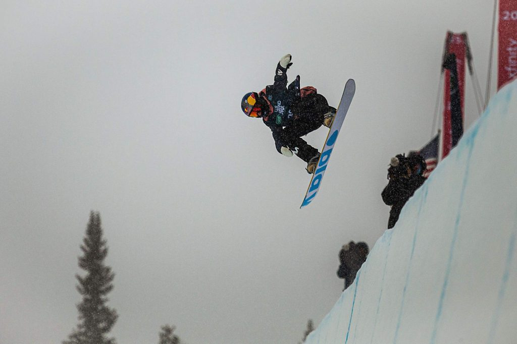 Spain's Queralt Castellet takes first place in the women's snowboarding halfpipe finals of the Land Rover U.S. Grand Prix at Copper Mountain, Colo. on Saturday, Dec. 14.