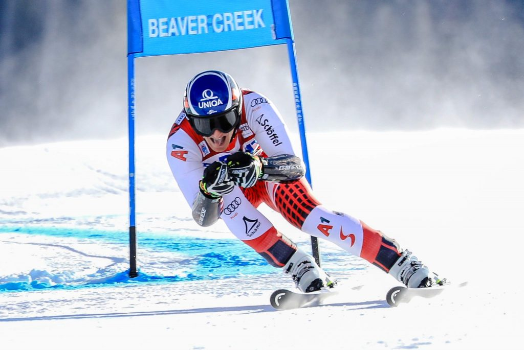 Austria's Matthias Mayer goes for it all during the super-G of the Xfinity Birds of Prey Audi FIS World Cup on Friday in Beaver Creek. Mayer took third.