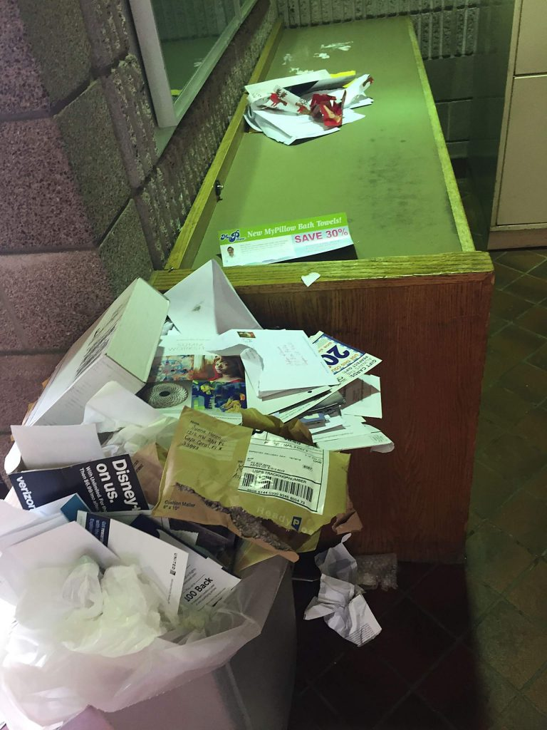 Due to understaffing, the Aspen post office lobby is in a steady state of uncleanliness.