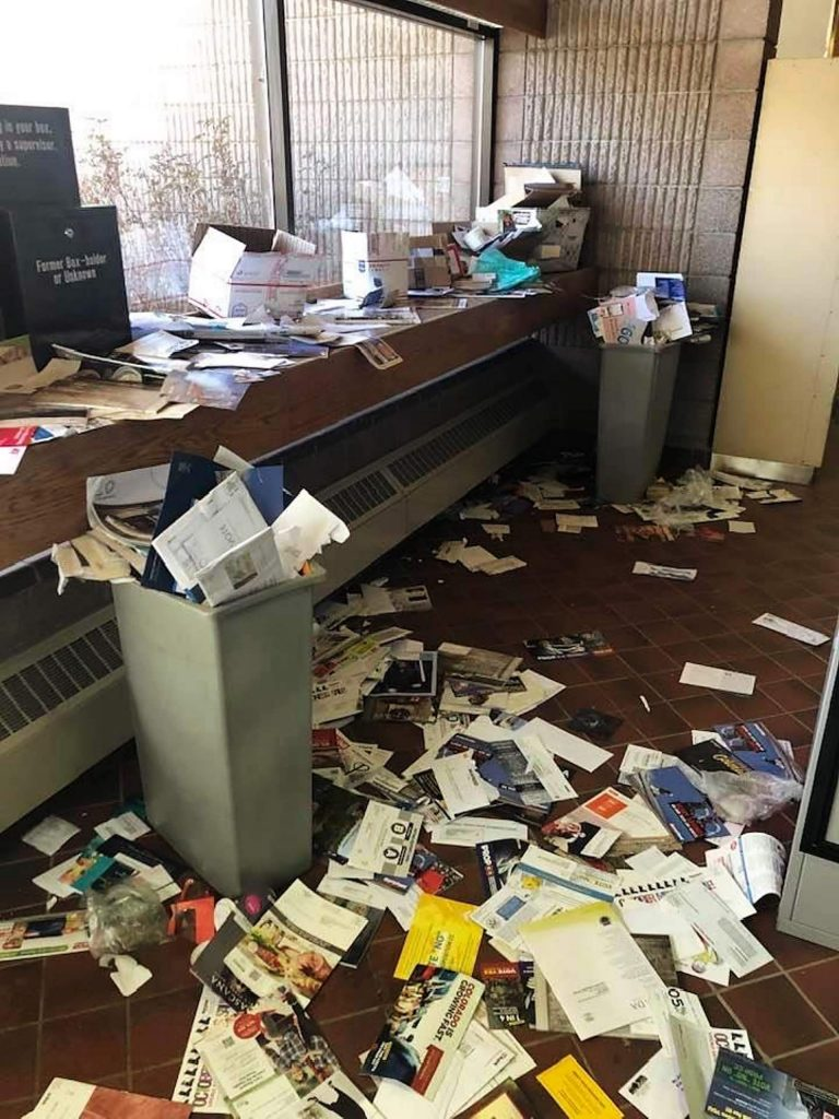 The state of the Aspen post office lobby in early November.