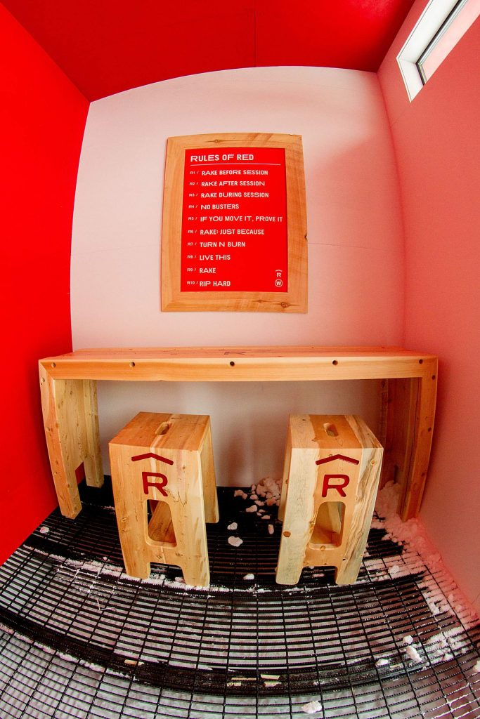 Inside Red's Shed at the top of the new Red's Backyard rail garden at Copper Mountain Resort are the 10 Rules of Red.