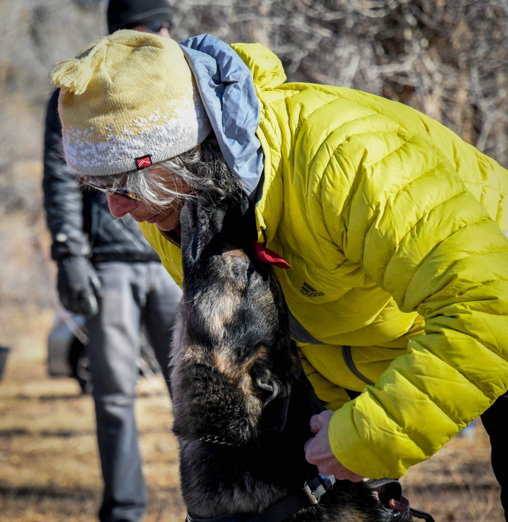 Search-and-rescue dog Sasha licks handler Dee Lehman's face before heading out on a search during training on Sunday morning.