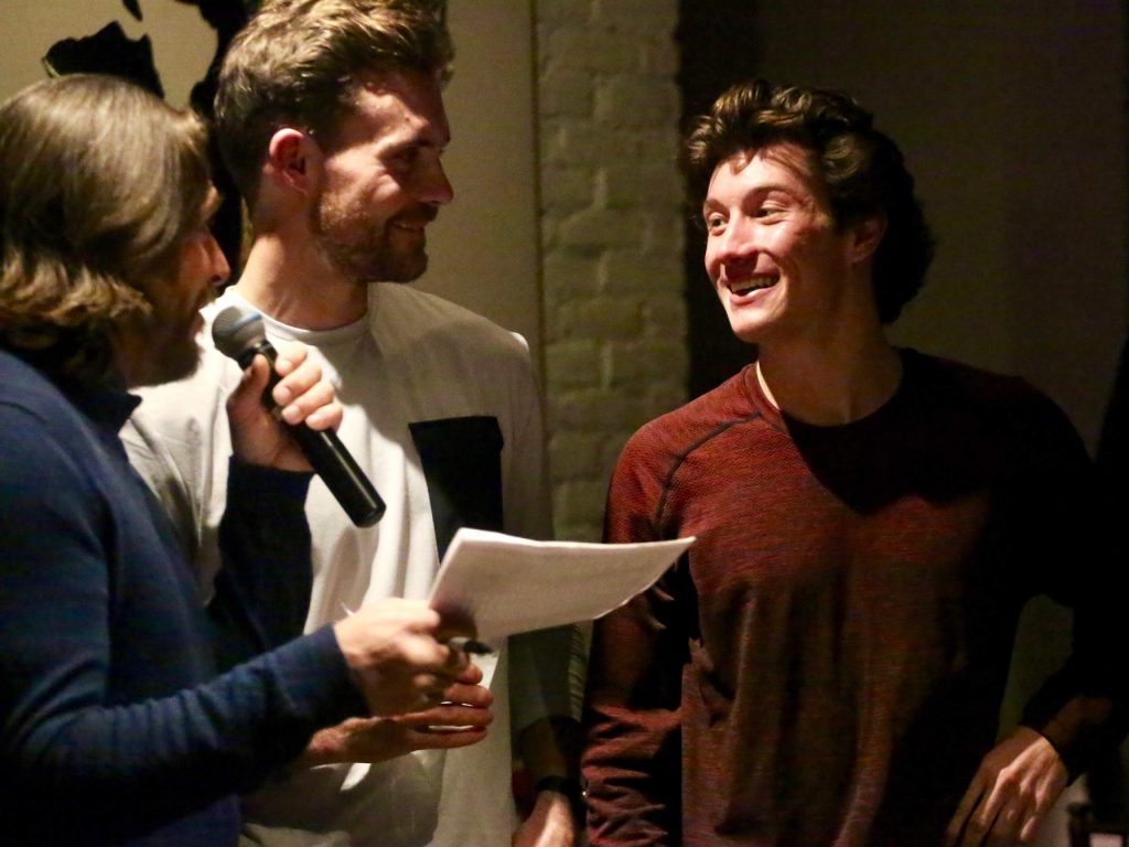 Aspen halfpipe skier Alex Ferreira, right, chats with Swedish ski racer Jonas Nyberg, center, and five-time Olympian Casey Puckett during the Audi Ajax Cup team draw on Saturday, Dec. 28, 2019, at 7908 in Aspen. The 10th annual Ajax Cup, the Aspen Valley Ski and Snowboard Club's largest fundraiser, will take place Monday, Dec. 30, at the base of Aspen Mountain.