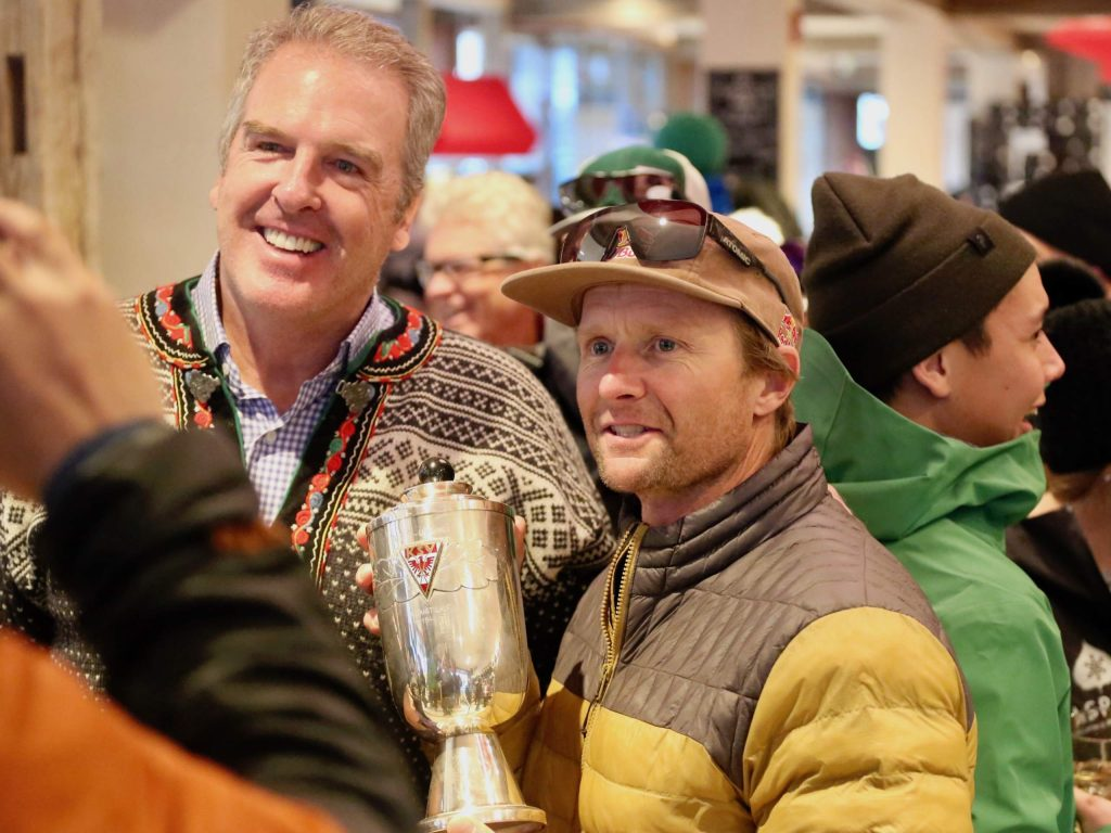 Former World Cup ski racer Daron Rahlves, right, poses for a photo with Jeff Gorsuch during the Audi Ajax Cup apres party at the Gorsuch Ski Cafe on Sunday, Dec. 29, 2019, in Aspen.