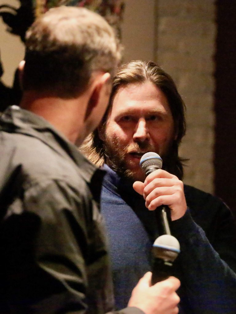Race co-director Casey Puckett, a five-time Olympian, talks with Chris Davenport during the Audi Ajax Cup team draw on Saturday, Dec. 28, 2019, at 7908 in Aspen.