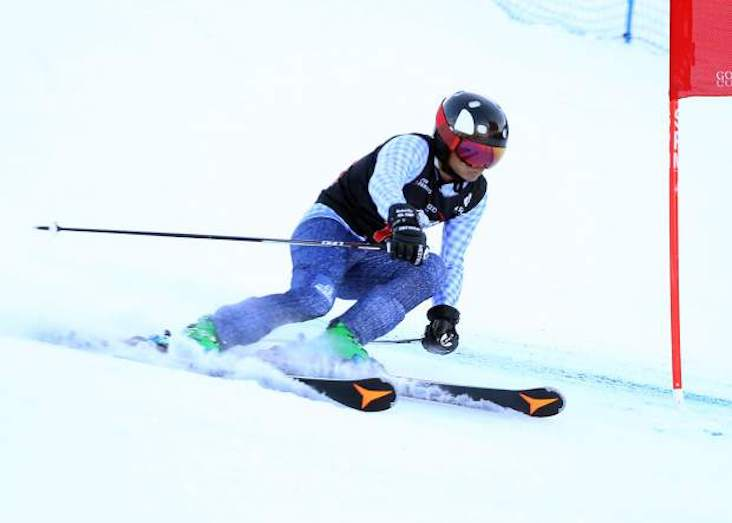 A skier competes in the 2018 Audi Ajax Cup.
