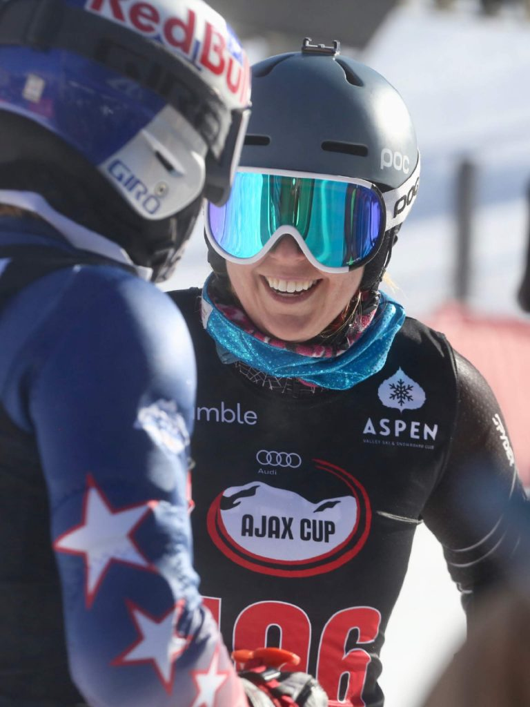 Aspen's Katie Ryan, a former competitive skier, laughs after a race during the Audi Ajax Cup on Monday, Dec. 30, 2019, at Aspen Mountain. (Photo by Austin Colbert/The Aspen Times)