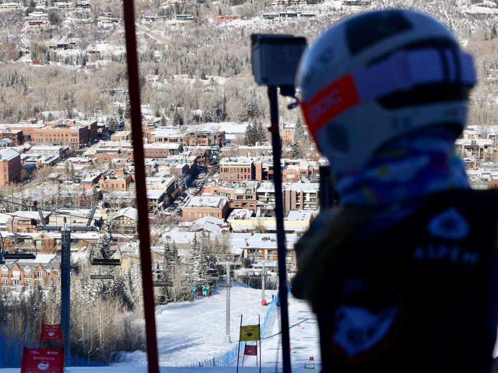 A skier prepares to compete in the Audi Ajax Cup on Monday, Dec. 30, 2019, at Aspen Mountain. (Photo by Austin Colbert/The Aspen Times)