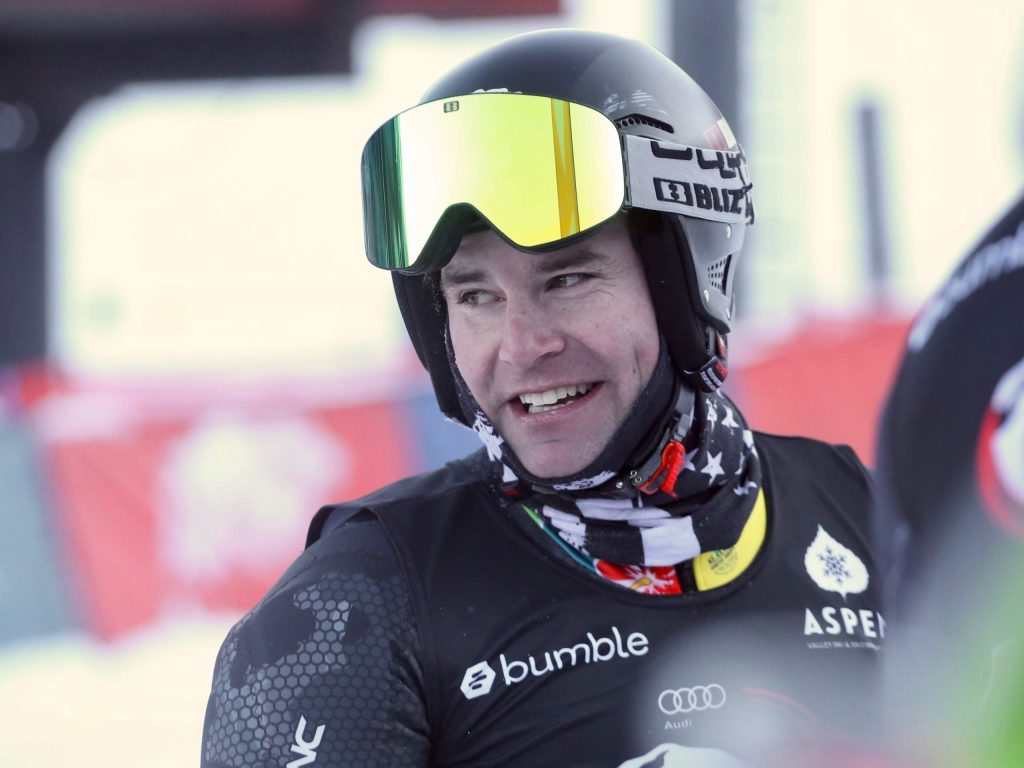 Professional skier Nolan Kasper reacts after a race during the Audi Ajax Cup on Monday, Dec. 30, 2019, at Aspen Mountain. (Photo by Austin Colbert/The Aspen Times)
