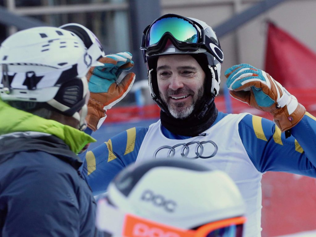 NASCAR driver Jimmie Johnson celebrates after winning the Audi Ajax Cup on Monday, Dec. 30, 2019, at Aspen Mountain. (Photo by Austin Colbert/The Aspen Times)