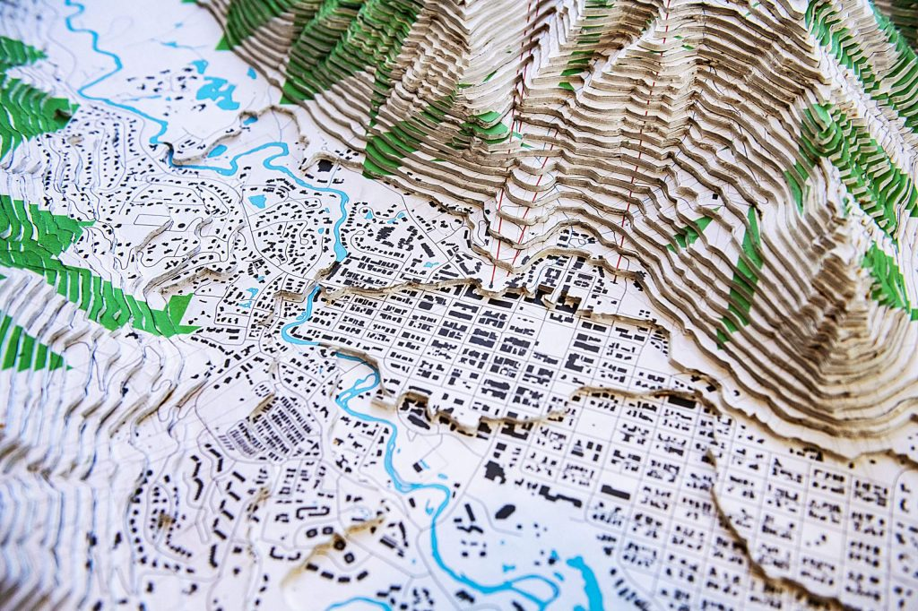 John Doyle's map of Aspen is made of 62 layers to achieve an accurate representation of the elevation from the town to the peak of Aspen Mountain. The piece of work took Doyle roughly 150 hours to construct. He plans to sell it and will in the future potentially make more.