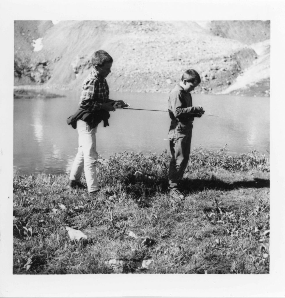 Henry Obermeyer (left) and Wally fishing at Anderson Lake in 1965.