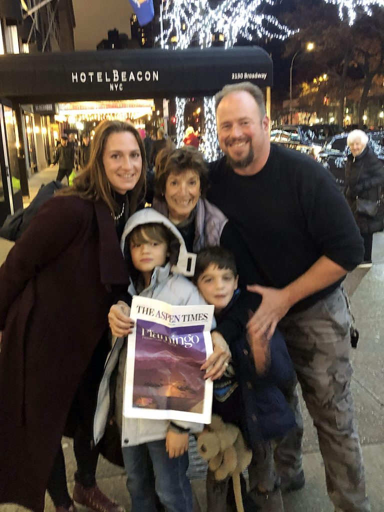 Linda Maslow (middle) enjoyed The Aspen Times while hanging out on the Upper West Side in New York City with Chelsea, Peter, Gray and Taj. Email your