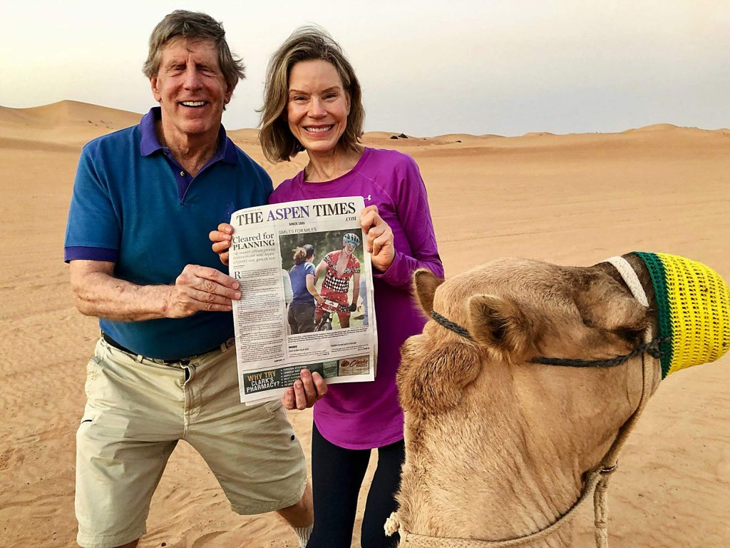Readers Peter Carman and Sharon Erikson brought The Aspen Times to Dubai in November. Email your