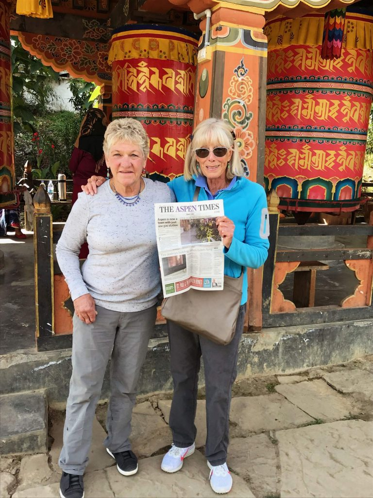 Readers Hilary Garner (left) and Susan Dodington recently traveled with The Aspen Times to Paro, Buhtan, a landlocked country in South Asia.