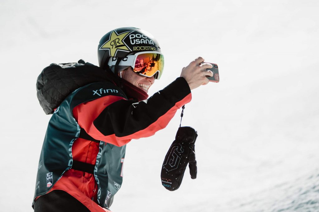 Aspen's Alex Ferreira takes a selfie during freeski qualifying on Wednesday, Dec. 11, 2019, at the Land Rover U.S. Grand Prix at Copper Mountain. Ferreira was second in his heat and will compete in Friday's finals.