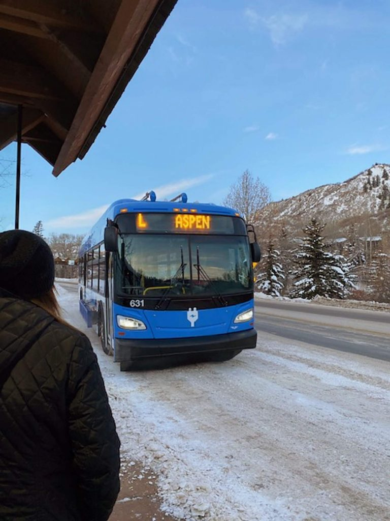 One of RFTA's electric buses makes the local run from Snowmass to Aspen on Thursday morning.