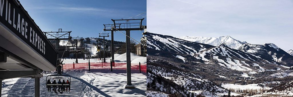 The Village Express carries skiers up the mountain as snow is being made pictured next to a scenic of Snowmass Mountain without skiers.